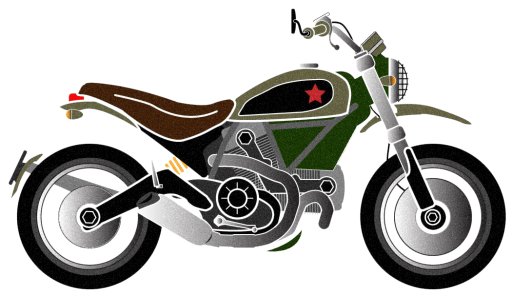 Ducvati Scrambler Artwork. Drawing by Mondo Lulu